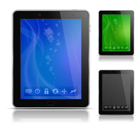 Tablet PC with abstract background and icons. User interface template. illustration Illustration