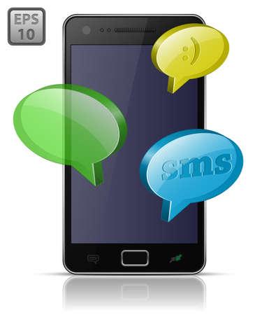 speakerphone: Modern mobile smart phone. Sending and Receiving SMS Messages.  Illustration