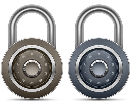 Combination Lock Collection. Security Concept.illustration of padlock Illustration