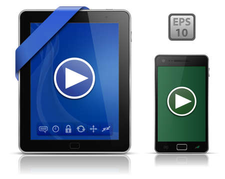 Video on mobile devices. Tablet PC and Smart phone. illustration Stock Vector - 9878233