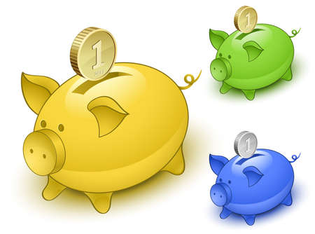 Piggy bank set. Save money concept. illustration Vector