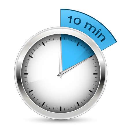 minuterie-10-minutes-bleu. Vecteurs