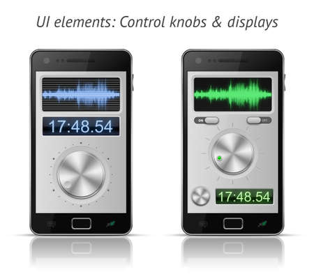 displays: UI elements for mobile devices. Control knobs and displays. EPS 10 vector illustration