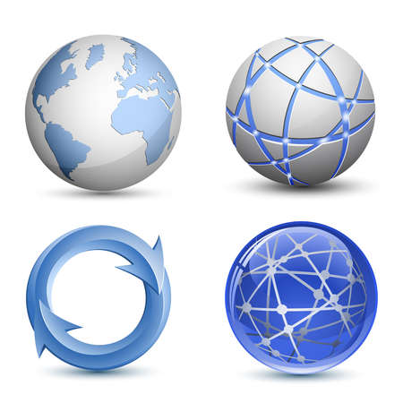 orbit: Abstract Globe Icons Set. Vector Illustration Illustration