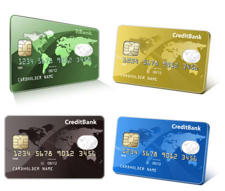 debit: Credit cards with world map. Colorful collection of credit cards. Highly detailed vector illustrations.