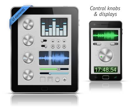 knobs: UI elements for tablets and smartphones. Control knobs and displays. EPS 10 vector illustration