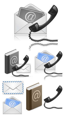 helpdesk: Contact Us Vector Icon Set. Vector Illustration