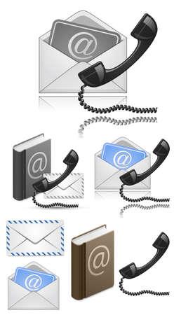 """hotline: """"Contact"""" Vector Icon Set. Vector Illustratie Stock Illustratie"""