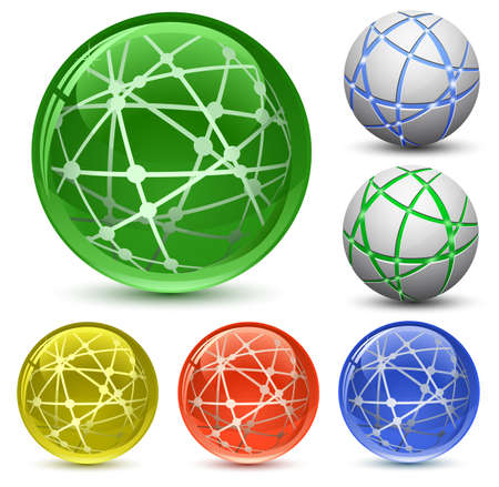 steel balls: Abstract Globe Icon Set. Communication and Network Concept. Vector Illustration EPS8