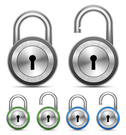 safe lock: Metallic Padlocks. Security Concept. Vector Illustration Illustration