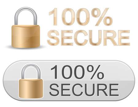 Metallic padlock. 100% Secure. SSL Certificates Sign for website. Vector