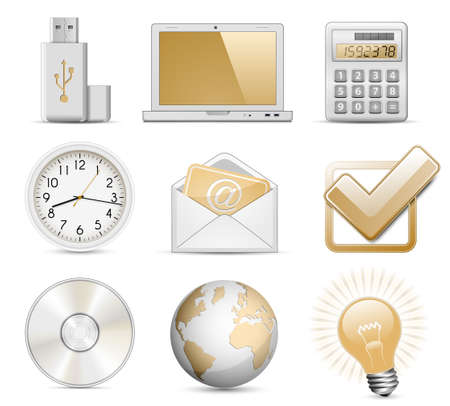 electronic mail: Office Icon Set.  Illustration