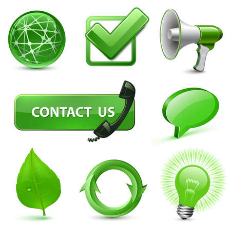 highly: 8 Highly Detailed Icons for Website. Green Series. Vector Illustration