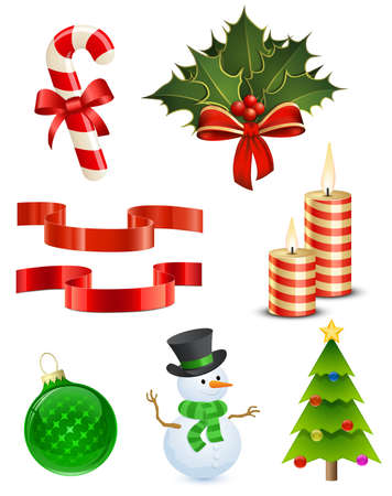 8 Highly detailed Christmas icons.  Illustration