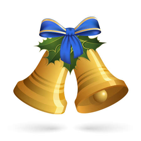 holly day: Christmas bells with holly and bow Illustration