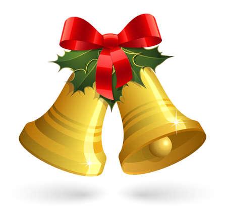 campanas: Campanas de Navidad con el arco rojo y el acebo