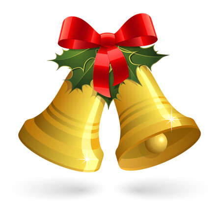 Christmas bells with red bow and holly Vector
