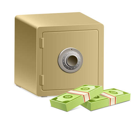 strongbox: Strongbox with a combination lock and pack of dollars Illustration