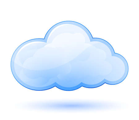 clouds in sky: Cloud glossy icon. Vector illustration