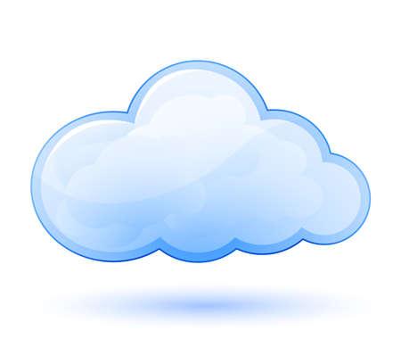 ciel nuages: Nuage ic�ne de papier glac�. Vector illustration Illustration