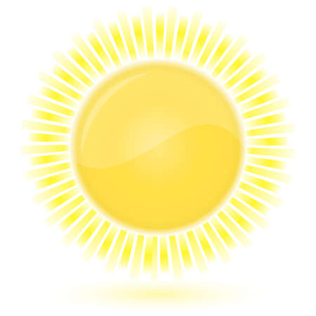wheather forecast: Glossy icon of Sun. Vector illustration