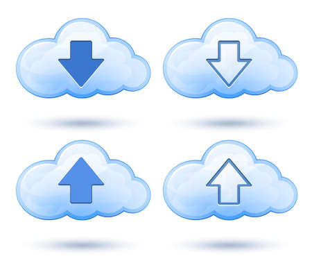 Download and upload icons. Vector illustration of glossy cloud with arrow Vector