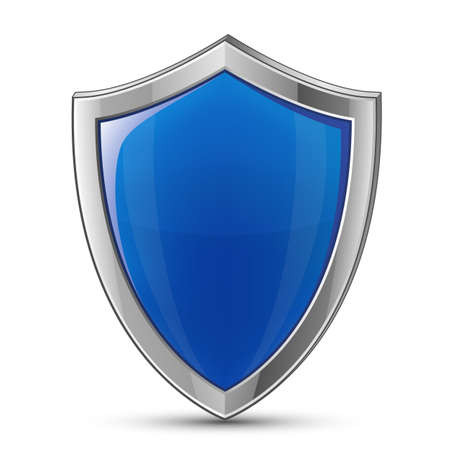 badge shield: Protection concept. Vector illustration of blue glossy shield Stock Photo