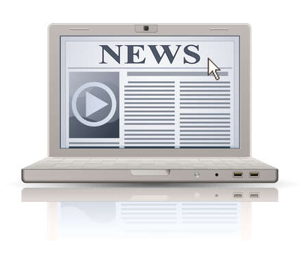 lately news: Online newspaper. Laptop and news website. Web 2.0 newspaper icon.