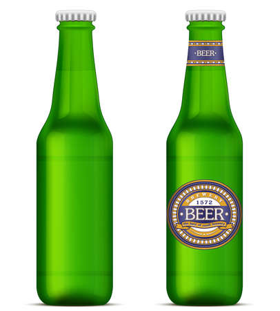 Green beer bottles with label. Vector illustration Vector