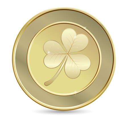 Gold coin: Đồng xu vàng với cỏ ba lá. Ngày biểu tượng Thánh Patrick