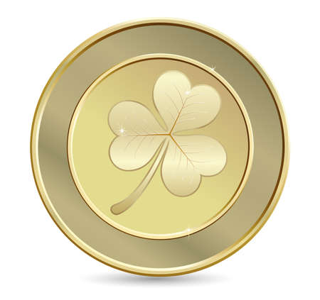 Golden coin with clover. St. Patricks day symbol Vector