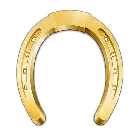 in bocca al lupo: Golden Horseshoe. Un ferro di cavallo � simbolo di buona fortuna. Vector illustration
