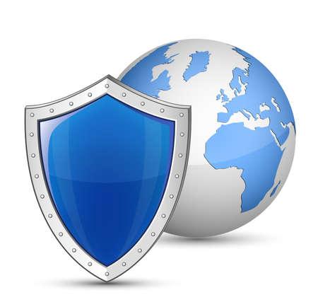 Globe en een schild. Veiligheid en beveiliging begrip Stockfoto