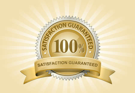 satisfaction: Satisfaction Guaranteed Sign on Yellow Background. Vector Illustration