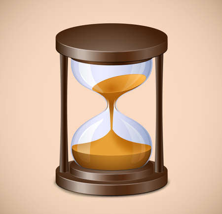 Sand watch. Highly detailed vector illustration of hourglass on brown background Vector