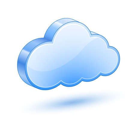 Glossy Blue Cloud With Shadow Vector Illustration