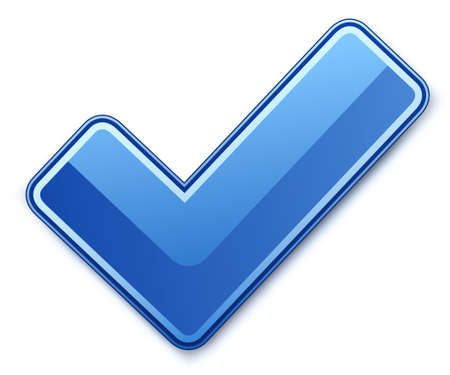 check icon: Blue check mark. illustration Stock Photo