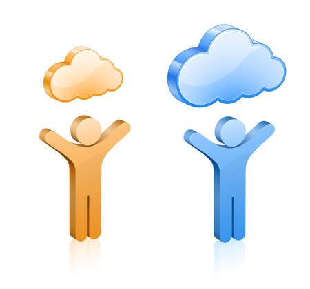 hosting cloud: Custom cloud hosting  illustration  People and glossy clouds