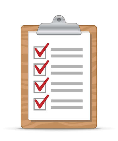 Wooden clipboard with a sheet of paper  Checklist  Illustration Vector