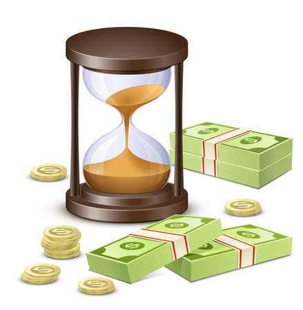 sand dollar: Hourglass, banknotes and coins  Time is money concept
