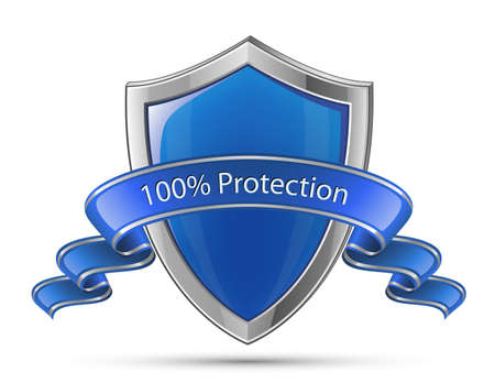 100  Protection concept, blue glossy shield Vector