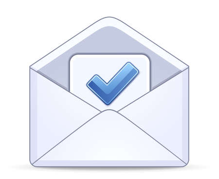 confirm: Open envelope with a checkbox symbol
