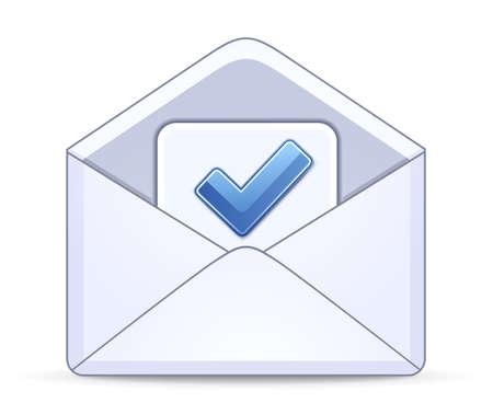 koperty: Otwarta koperta z symbolem pole wyboru