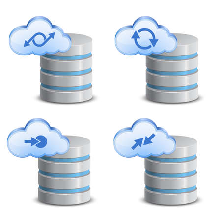 hard disk drive: Cloud network backup  On-line backup service Illustration