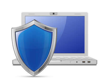 Laptop with protective shield  Internet security concept Stock Vector - 13110194