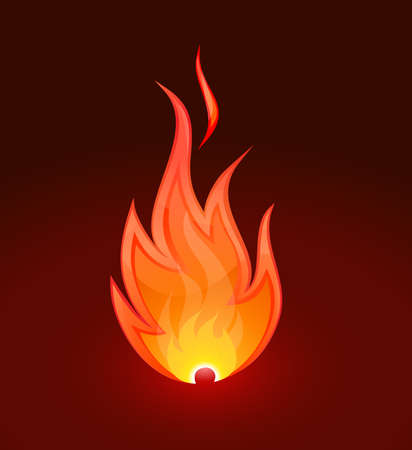Burn flame fire on dark background Stock Vector - 13546424