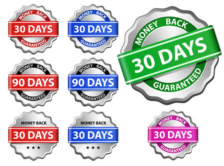 Money back guaranteed sign set Vector