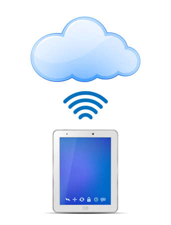 wifi access: Tablet PC e cloud computing cloud computing Wireless concetto illustrazione vettoriale