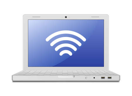 wi fi icon:  illustration of laptop and wireless technology