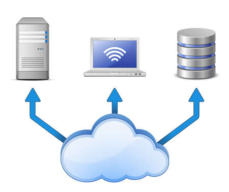 monitoraggio: Concetto di cloud Computing Server, database e laptop collegato alla rete informatica cloud